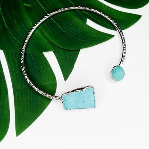 turquoise stone silver cuff egyptian necklace